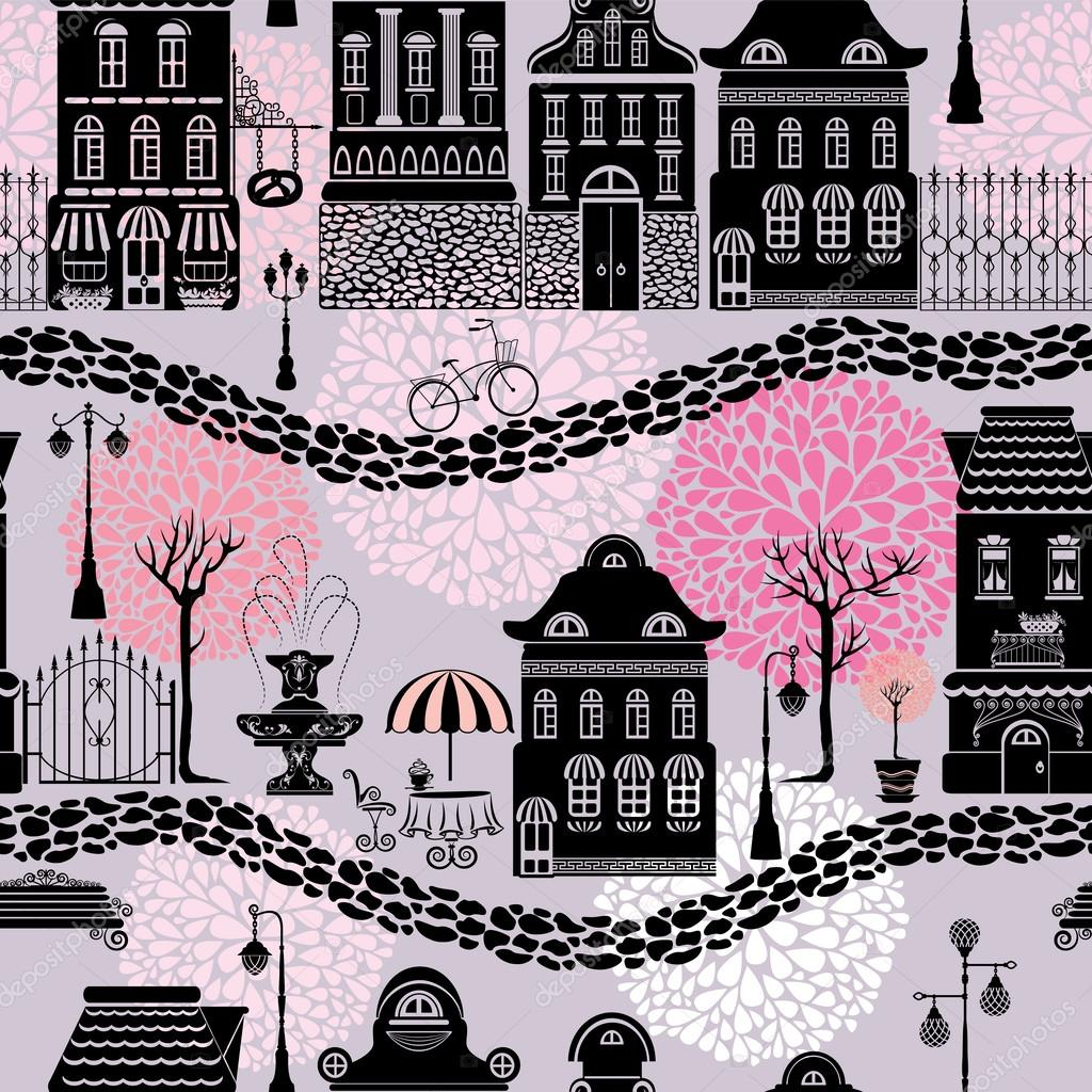 Seamless pattern with fairy tale houses, lanterns silhouettes, t ...