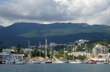 panorama of Black Sea pier and port harbor in Yalta, Crimea, Ukraine
