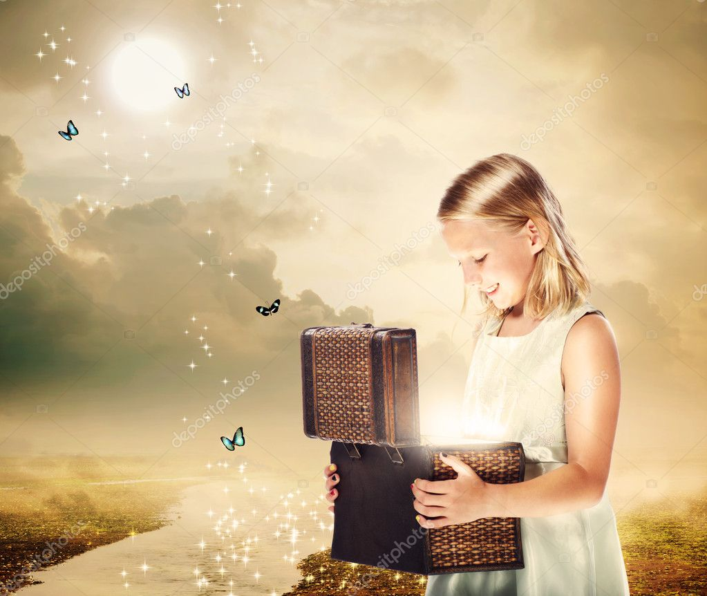 Blonde Girl Opening a Treasure Box