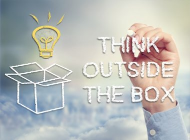 Think outside the box concept image