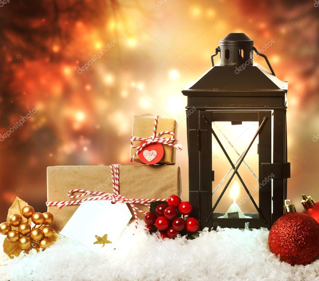 Christmas lantern with ornaments and presents — Stock ...