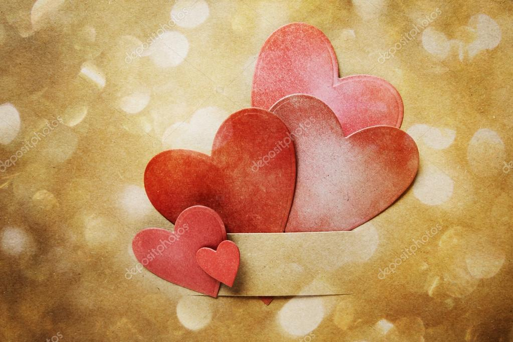Hand Crafted Paper Hearts And Circle Lights Stock Photo
