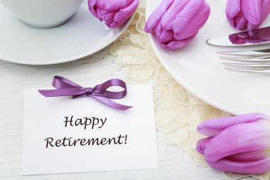 Happy Retirement message with table setting