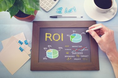 ROI concept on chalkboard