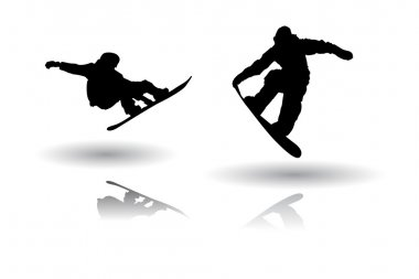 Vector of some Snowboarding silhouettes stock vector