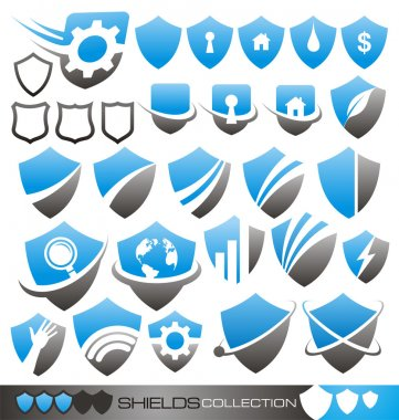 Security shield - symbols, icons and logo concepts collection
