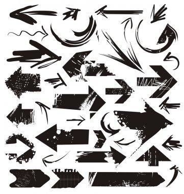 Set of grunge arrows