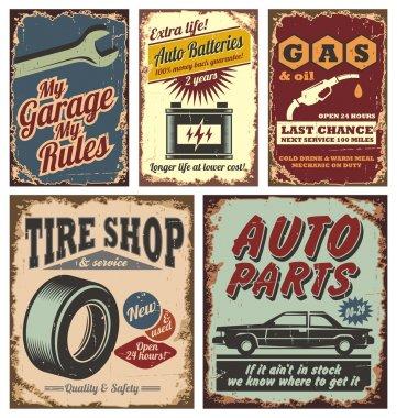 Vintage car metal signs and posters
