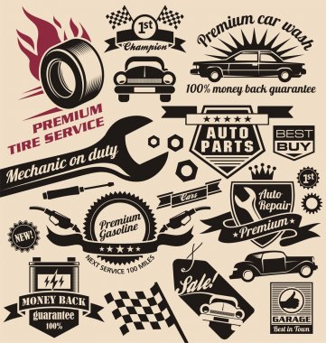 Vector set of vintage car symbols