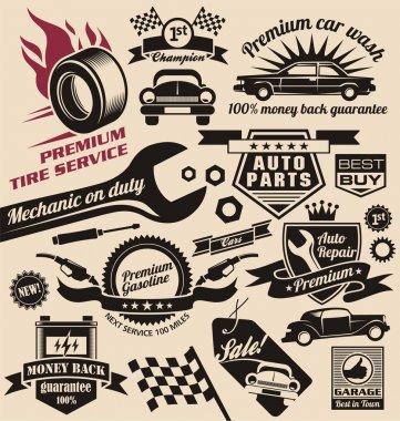 Vector set of vintage car symbols