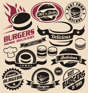 Burger icons, labels, signs, symbols and design elements. Vector collection of fast food badges. stock vector