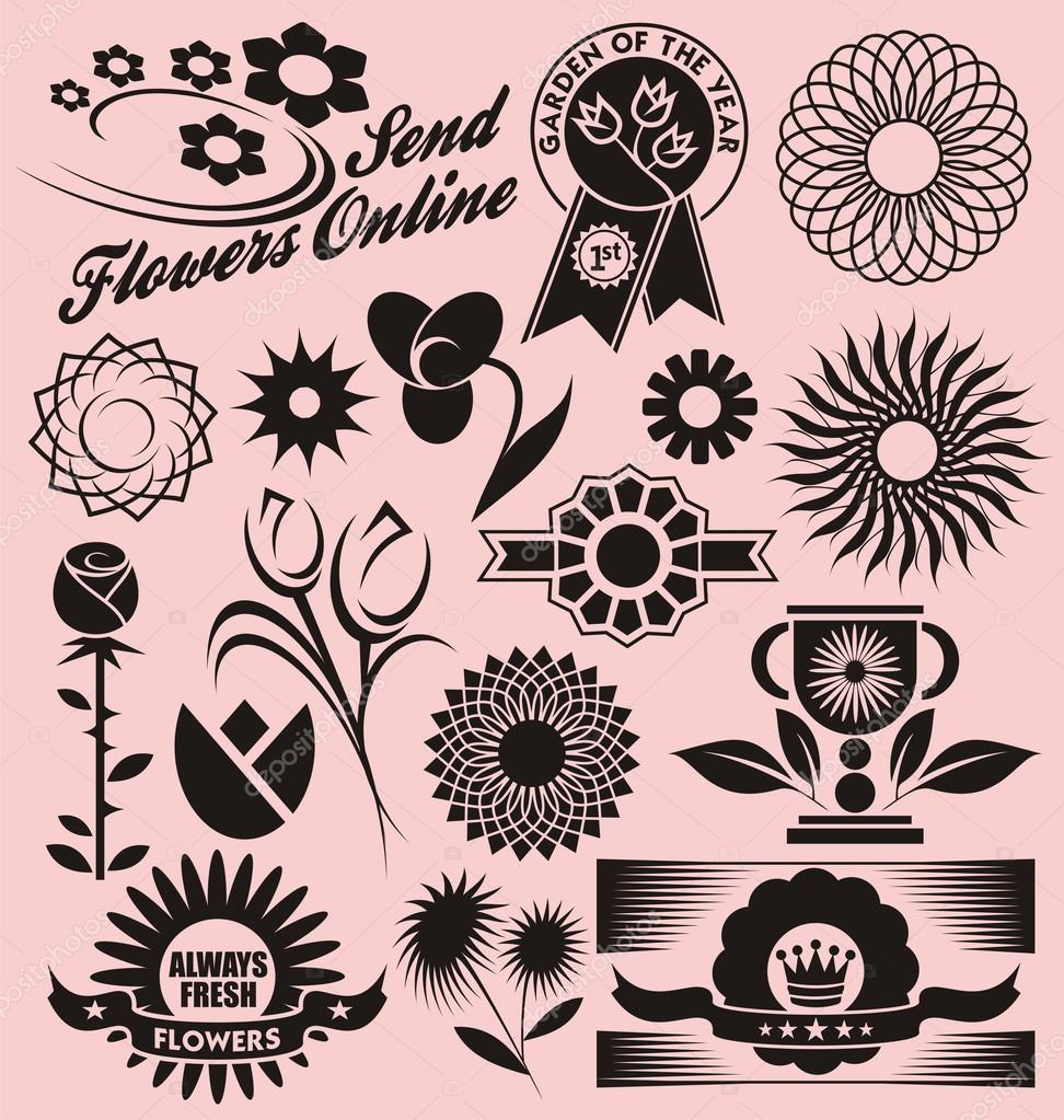 Flower collection of decorative vectors