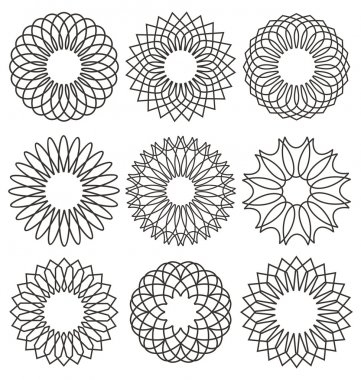 Set of rosettes, ornaments and decorative lines