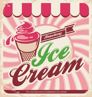 Retro ice cream poster