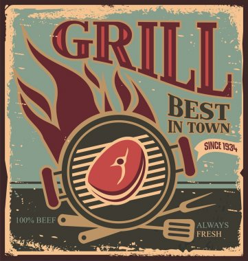 Retro BBQ poster template with fresh beef steak