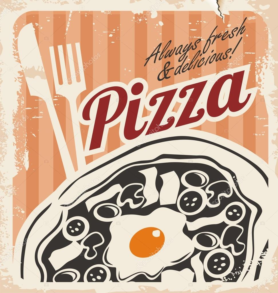 Vintage Pizza Sign Background Template Or Box Design Retro Pizzeria Poster On Old Paper Texture Grunge Food Illustration Vector By Lukeruk