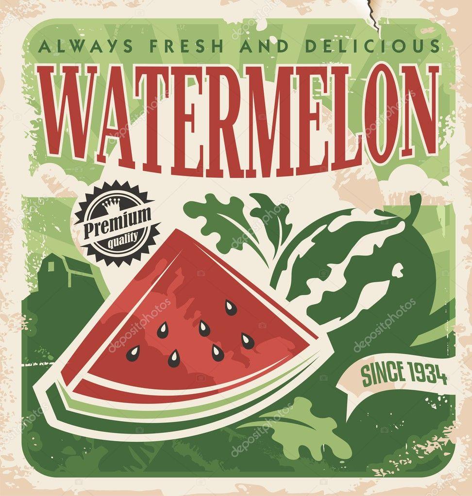 vintage poster template for watermelon farm stock vector lukeruk 27061563. Black Bedroom Furniture Sets. Home Design Ideas