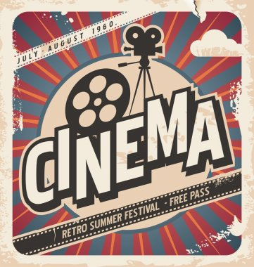Retro cinema poster. Vector movie poster for summer festival. Vintage background illustration on old paper texture. stock vector