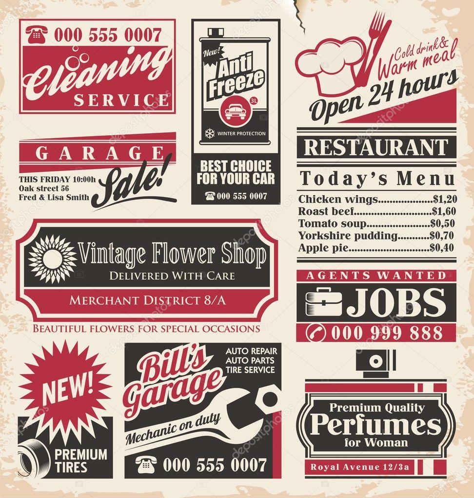anuncios de periódico retro diseño plantilla — Vector de stock ...