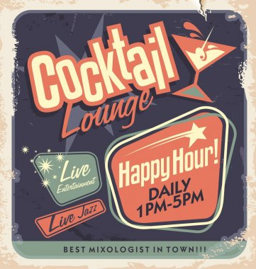 Retro poster design for cocktail lounge. Cocktail party vector concept. Vintage card design on old paper texture for bar or restaurant. Food and drink concept. clip art vector