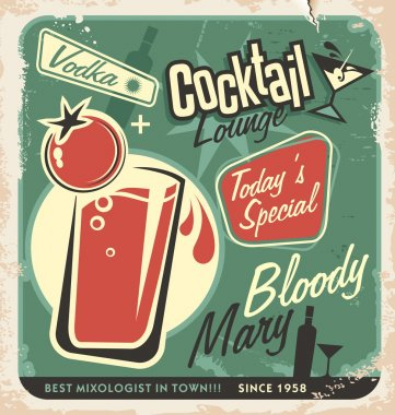Promotional retro poster design for one of the most popular cocktails Bloody Mary