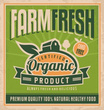 Retro farm fresh food poster design