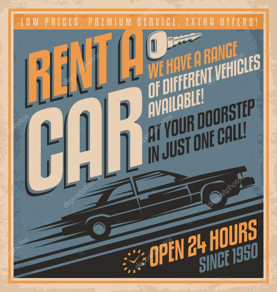 Old fashioned comics style rent a car poster design