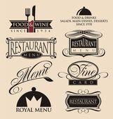 Fotografie Vintage set of restaurant signs, symbols, logo elements and icons.