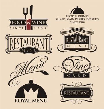 Vintage set of restaurant signs, symbols, logo elements and icons.