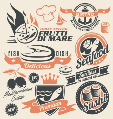 Set of seafood icons, symbols, logos and signs