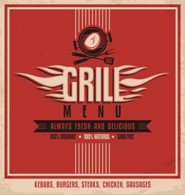 Grill menu retro flyer design
