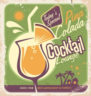 Promotional retro poster design for one of the most popular cocktails Pina Colada