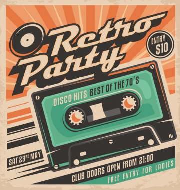 Retro party poster design. Disco music event at night club, vintage party invitation template. stock vector