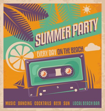 Summer party retro poster