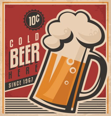 Retro beer vector poster