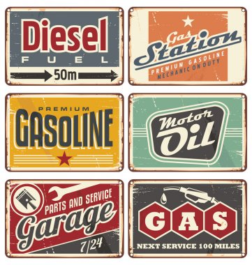 Gas stations and car service vintage tin signs collection. Set of transportation retro metal signs and ads. stock vector