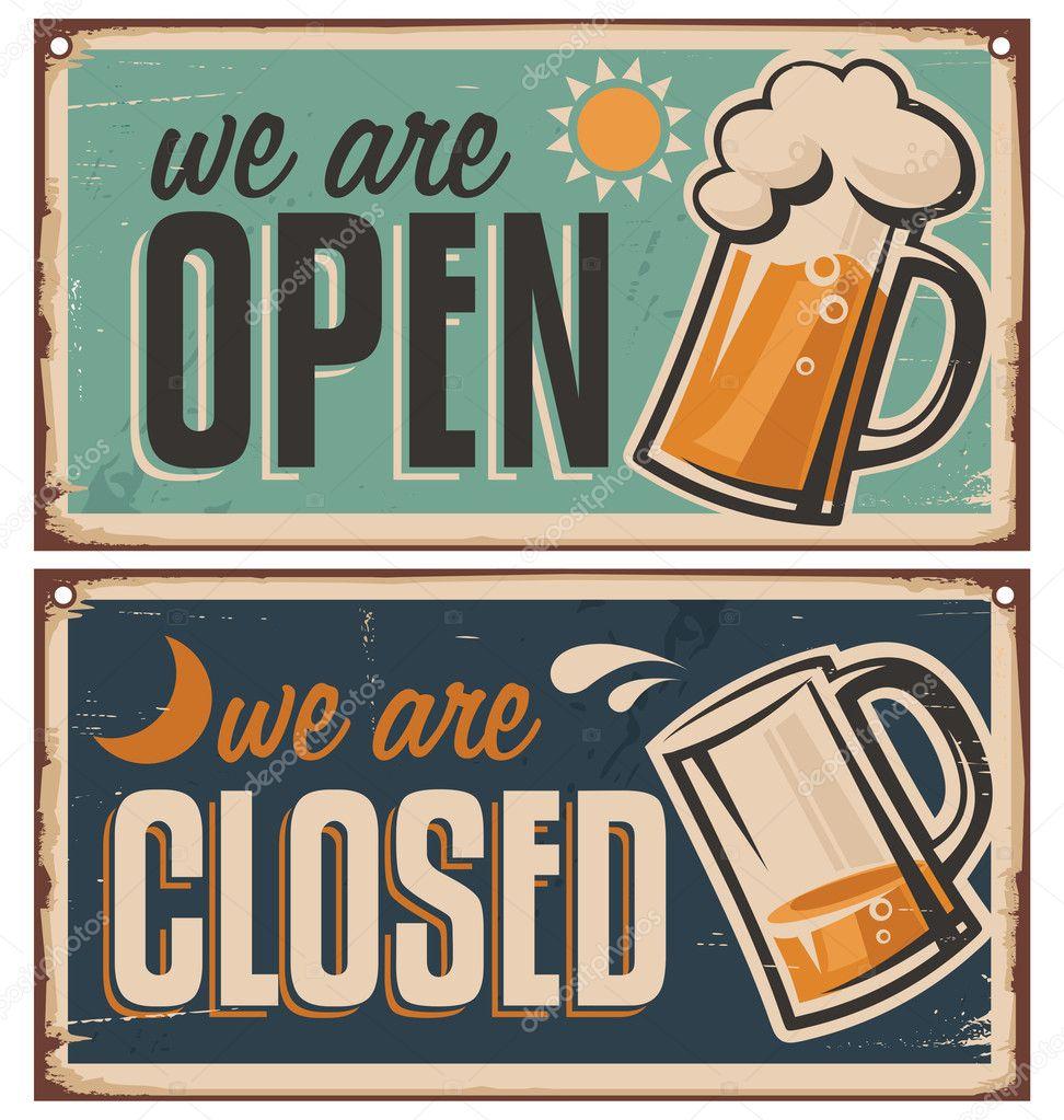 Retro tin door signs set for pub or tavern