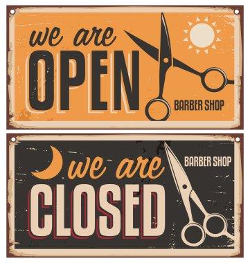 Retro door signs for barber shop