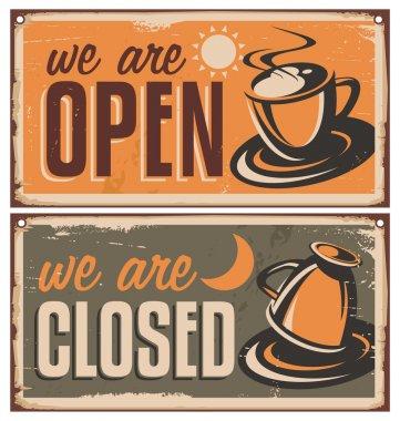 Retro door signs for coffee shop or cafe bar