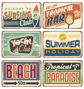 Vector set of promotional metal signs. Summer holiday vintage sign boards collection. Tropical beach advertising billboards, posters and ads for tropical bar, surfing club or yacht club. clip art vector