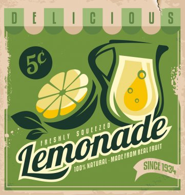 Lemonade, promotional vintage printing material for healthy food product.