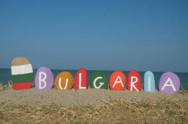 Souvenir of Bulgaria, България, on colourful stones