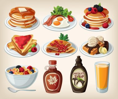 Classic breakfast cartoon set with pancakes, cereal, toasts and waffles stock vector