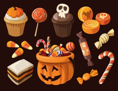 Set of colorful haloween sweets and candies icons