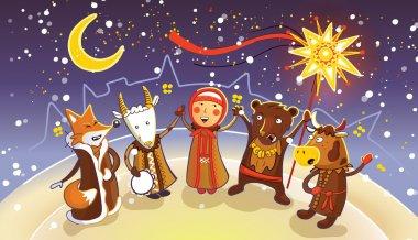 Celebration of traditional Belorussian winter holiday Kalyadi.