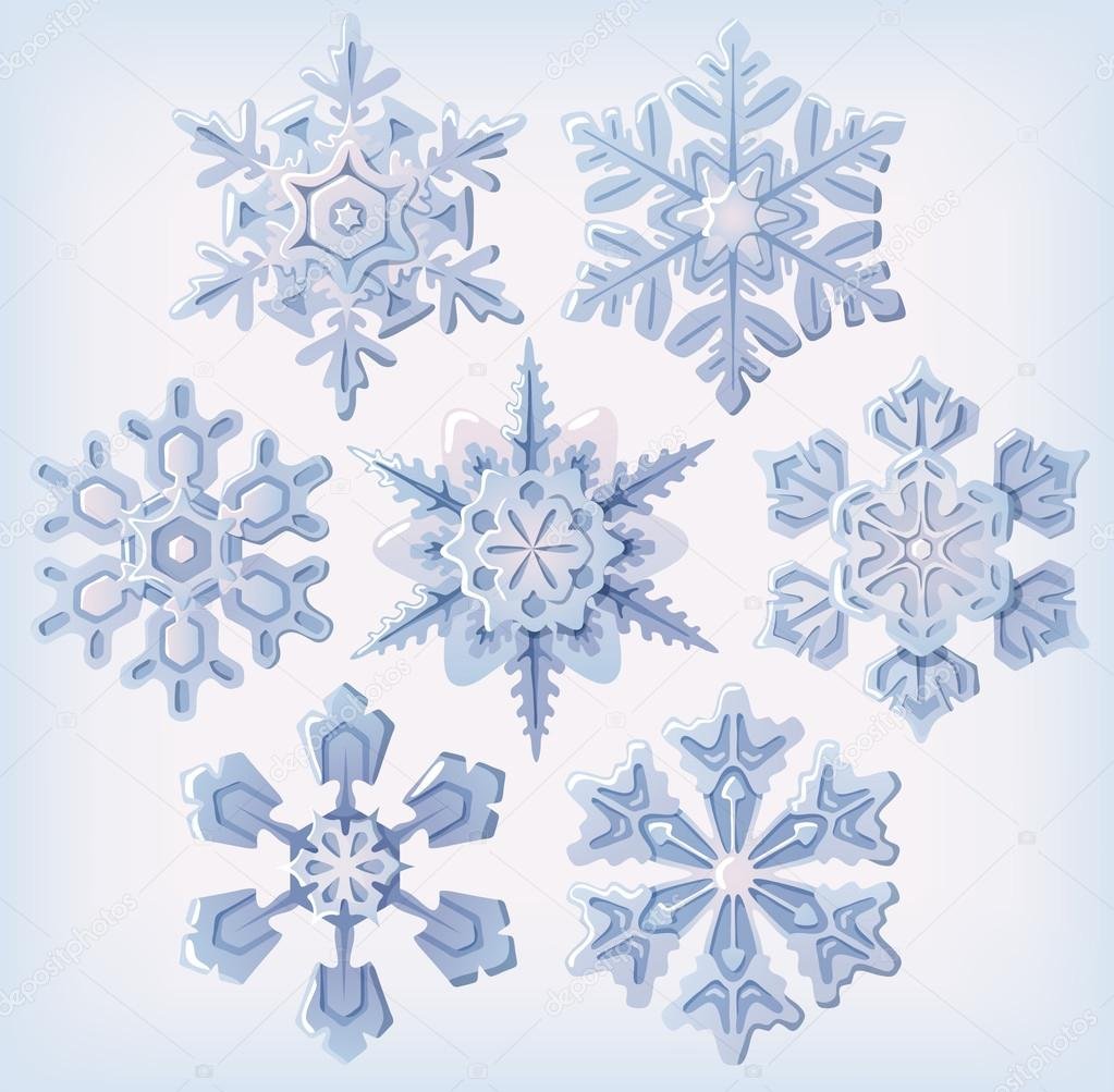 Set of ornate three dimensional snowflakes icons.