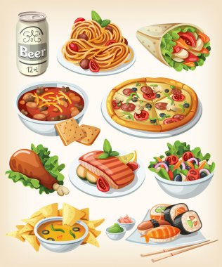 Set of traditional food icons. stock vector