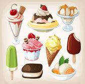 sada barevných chutné izolované zmrzliny