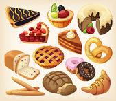 Fotografia set di torte e prodotti di farina da panificazione o pasticceria