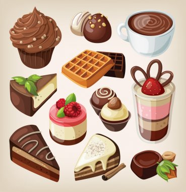 Set of chocolate sweets, cakes and other chocolate food stock vector